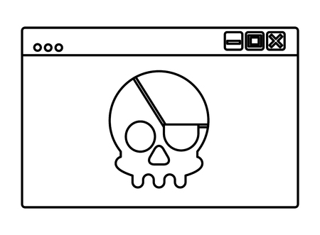 Cyber security web page skull crime attack vector illustration outline.