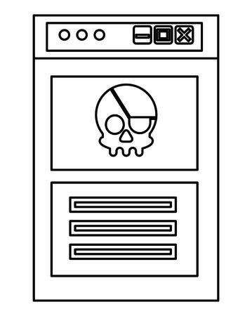 cyber security error hacked phishing vector illustration outline Illustration