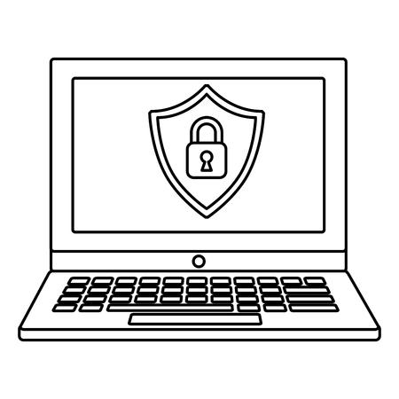 Cyber security shield protection padlock locked vector illustration outline. Foto de archivo - 99910839