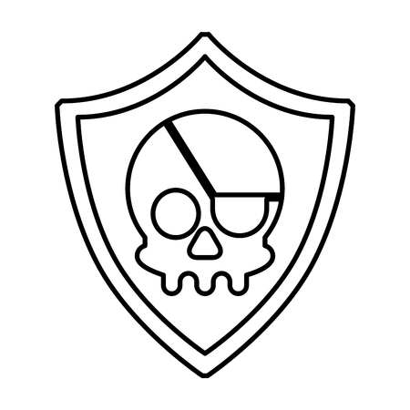 cyber security shield protection skull vector illustration outline