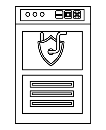 cyber security shield protection page data internet worm vector illustration outline