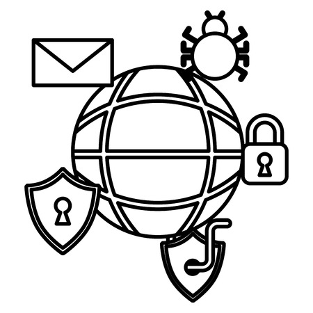 cyber security world padlock worm bug email vector illustration outline