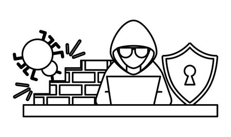 Cyber security hacker working laptop bug firewall shield vector illustration outline. Иллюстрация
