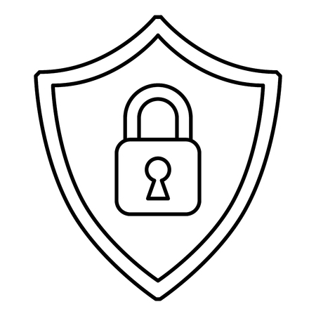 cyber security shield protection locked safety information digital vector illustration outline