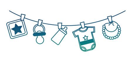 Bébé douche garçon vêtements bavoir tétine bouteille suspendus décoration illustration vectorielle couleur dégradée Vecteurs