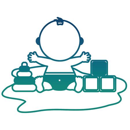 baby shower boy sitting with toys blocks vector illustration degraded color Illustration