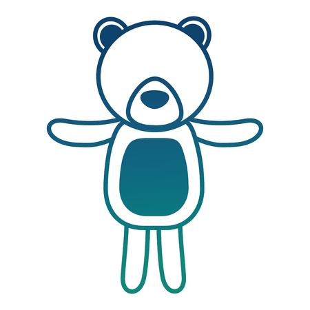 Cute bear teddy toy children vector illustration degraded color.