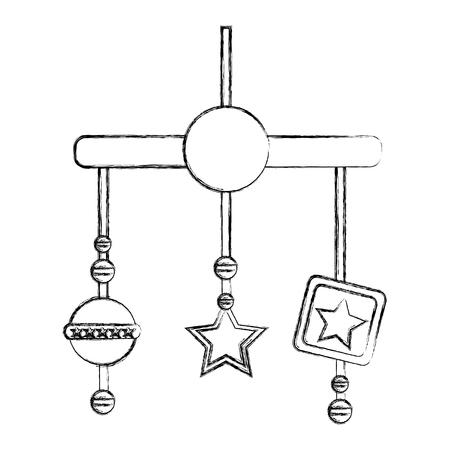 baby shower crib mobile toys decoration vector illustration sketch