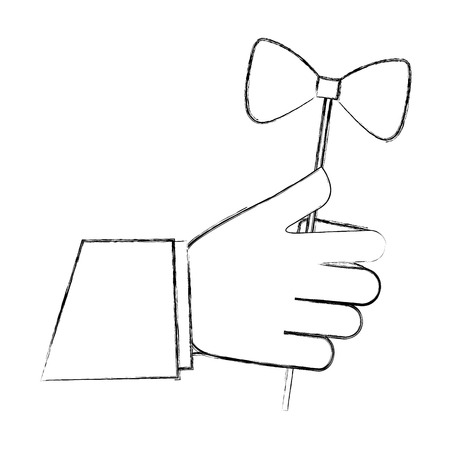 hand holding hipster bow tie in stick vector illustration sketch