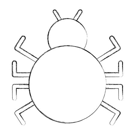 cyber security bug virus malware attack vector illustration sketch
