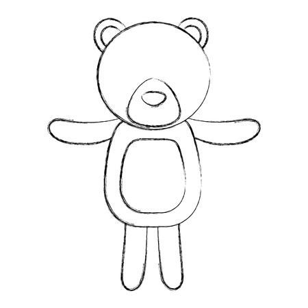 cute bear teddy toy children vector illustration sketch
