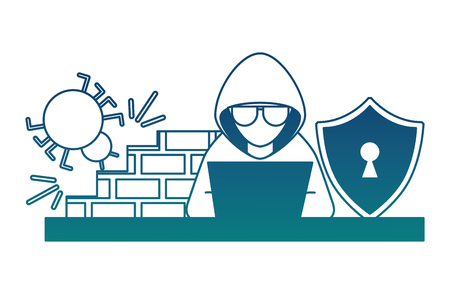 cyber security hacker working laptop bug firewall shield vector illustration degraded color