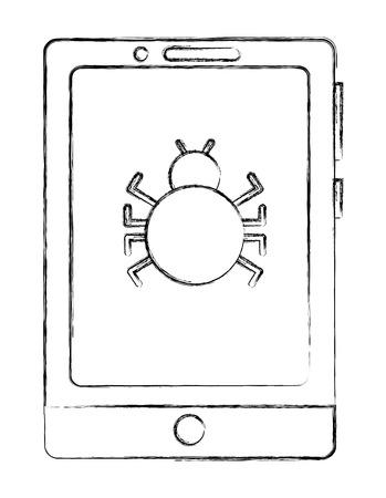 cyber security smartphone bug virus alert warning vector illustration sketch Illustration