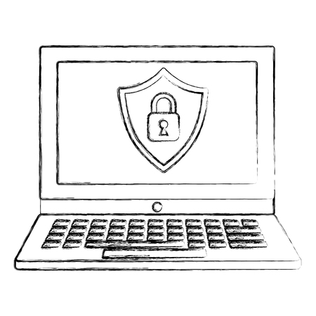 cyber security shield protection padlock locked vector illustration