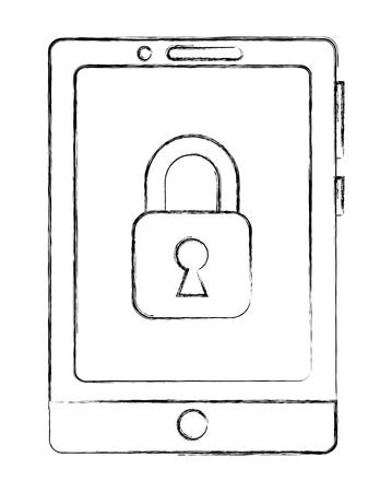 cyber security smartphone locked data information vector illustration Illustration