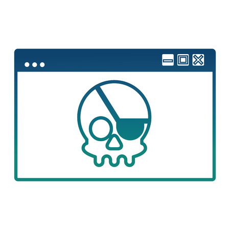 cyber security web page skull crime attack vector illustration degraded color Ilustração