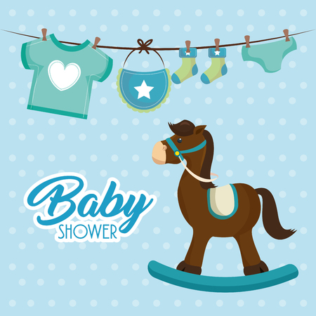 Cute wooden horse for boy baby shower card vector illustration design