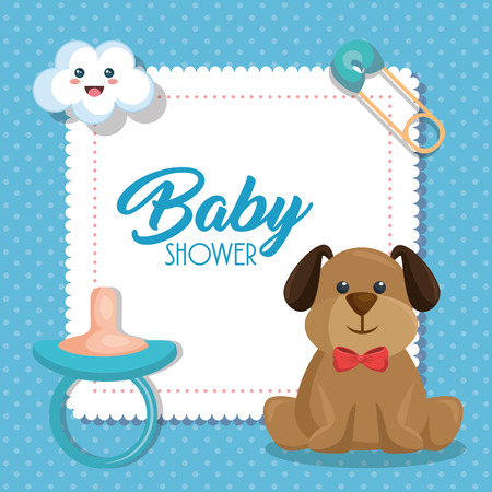 Baby shower card with cute dog vector illustration design Çizim