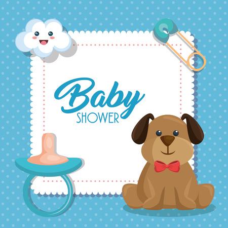 Tarjeta de baby shower con el perro lindo ilustración vectorial de diseño Foto de archivo - 100142283