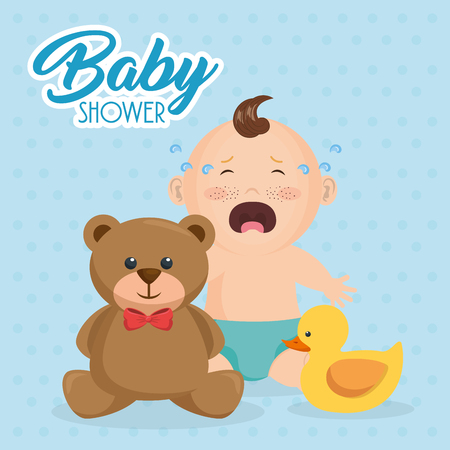 Baby shower card with little boy and teddy bear vector illustration design