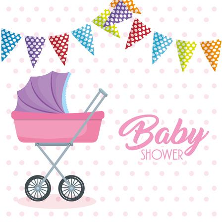 Baby shower card with stroller vector illustration design Иллюстрация