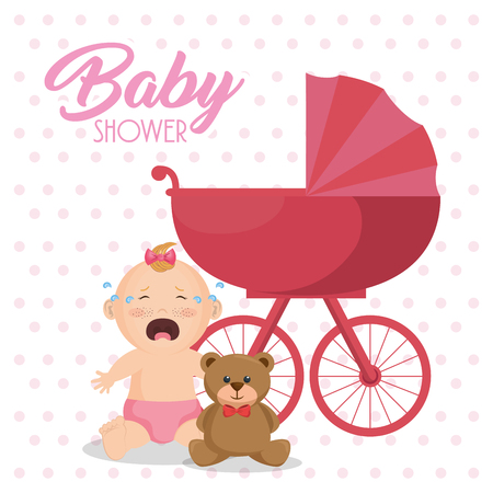 Baby shower card with little girl vector illustration design 일러스트