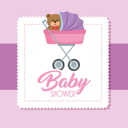 Baby shower card with bear teddy in cart vector illustration design. 일러스트