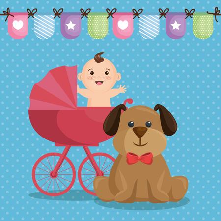 Baby shower card with little boy vector illustration design.
