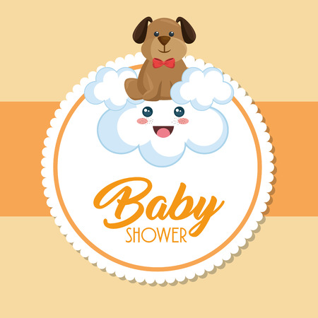 Baby shower card with cute dog vector illustration design. 일러스트