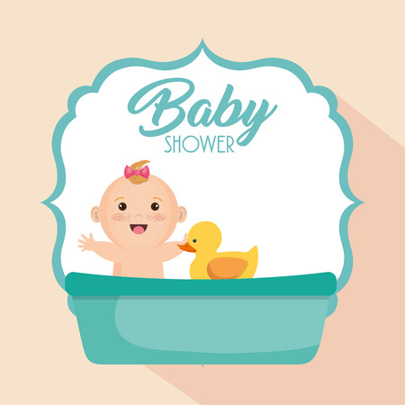 Baby shower card with little girl vector illustration design.