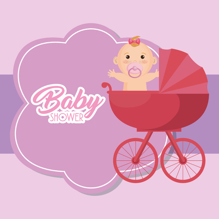 Baby shower card with little girl vector illustration design.