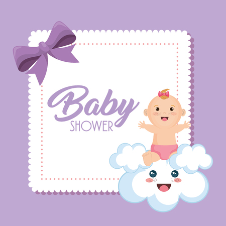 Baby shower card with little girl vector illustration design. Фото со стока - 99910290