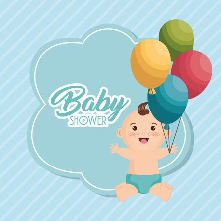 Baby shower card with little boy vector illustration design.