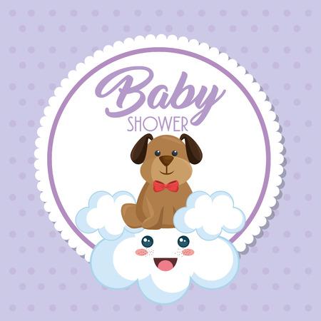 Baby shower card with cute dog vector illustration design. Foto de archivo - 99910296