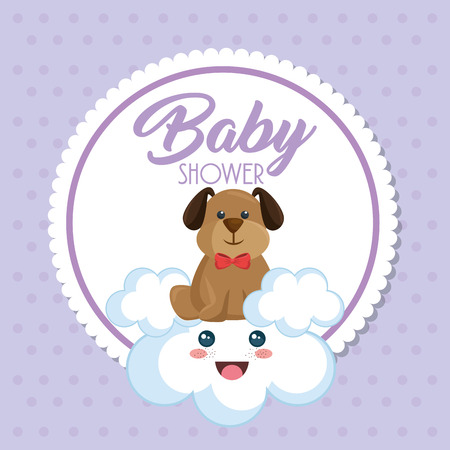 Baby shower card with cute dog vector illustration design. Illustration