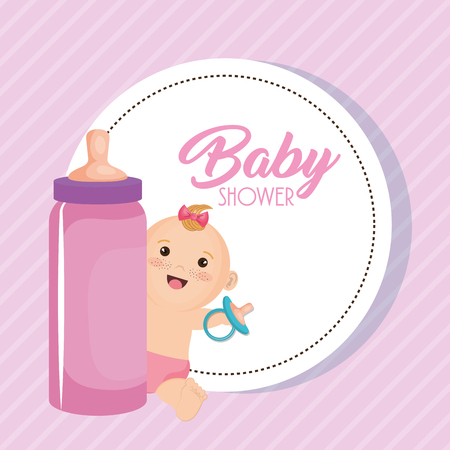 Baby shower card with little girl vector illustration design. Фото со стока - 99910297