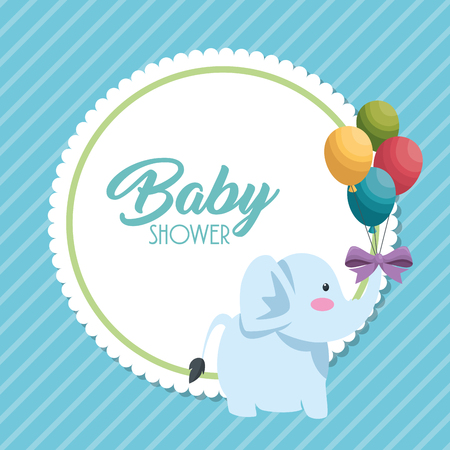 Baby shower card with cute elephant vector illustration design. 일러스트