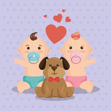 Baby shower card with little kids vector illustration design. Foto de archivo - 99910166
