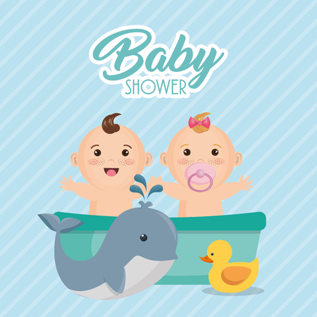 Baby shower card with little kids vector illustration design.