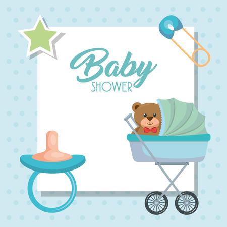 Baby shower card with bear teddy in cart vector illustration design. Ilustração