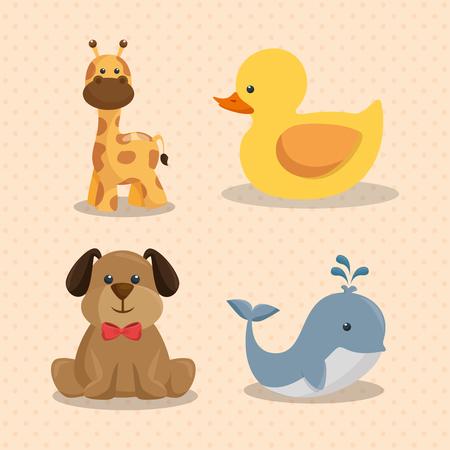 Baby shower card with cute animals vector illustration design. Foto de archivo - 99910170