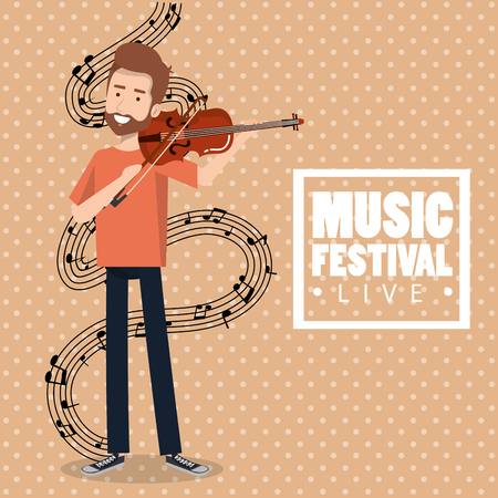 Music festival live with man playing violin vector illustration design