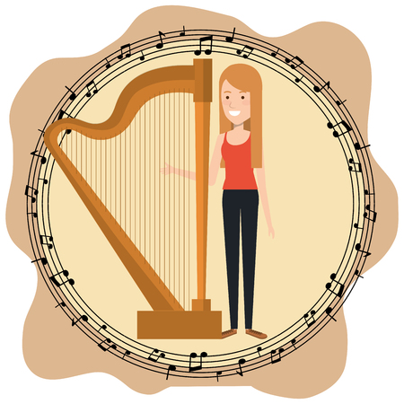 Music festival live with woman playing harp vector illustration design