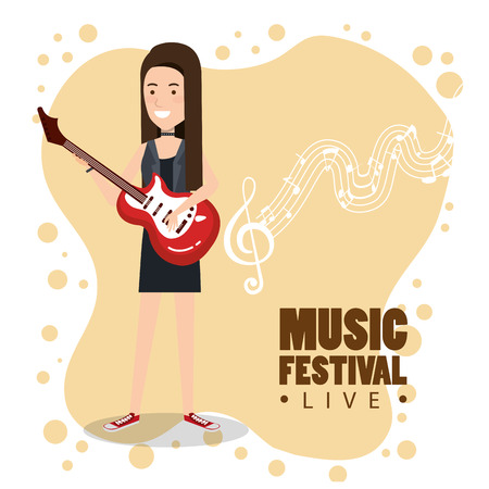 Music festival live with woman playing electric guitar vector illustration design. Çizim