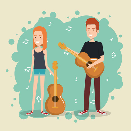 Music festival live with couple playing guitars vector illustration design.