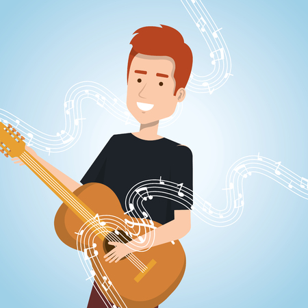 Music festival live with man playing acoustic guitar vector illustration design.