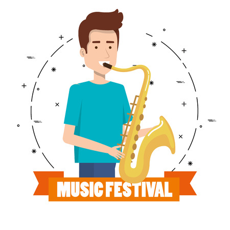 Music festival live with man playing saxophone vector illustration design. Reklamní fotografie - 99910083