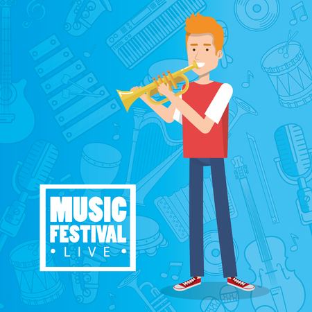 Music festival live with man playing trumpet vector illustration design.