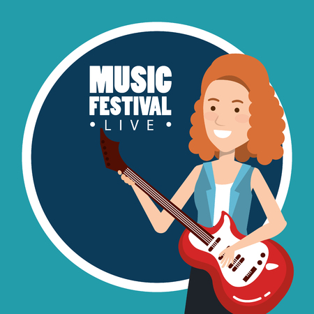 music festival live with woman playing electric guitar vector illustration design