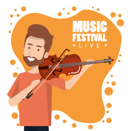 Music festival live with man playing violin vector illustration design.